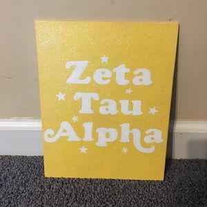 Other - 8x10 yellow Zeta Tau Alpha canvas with glitter
